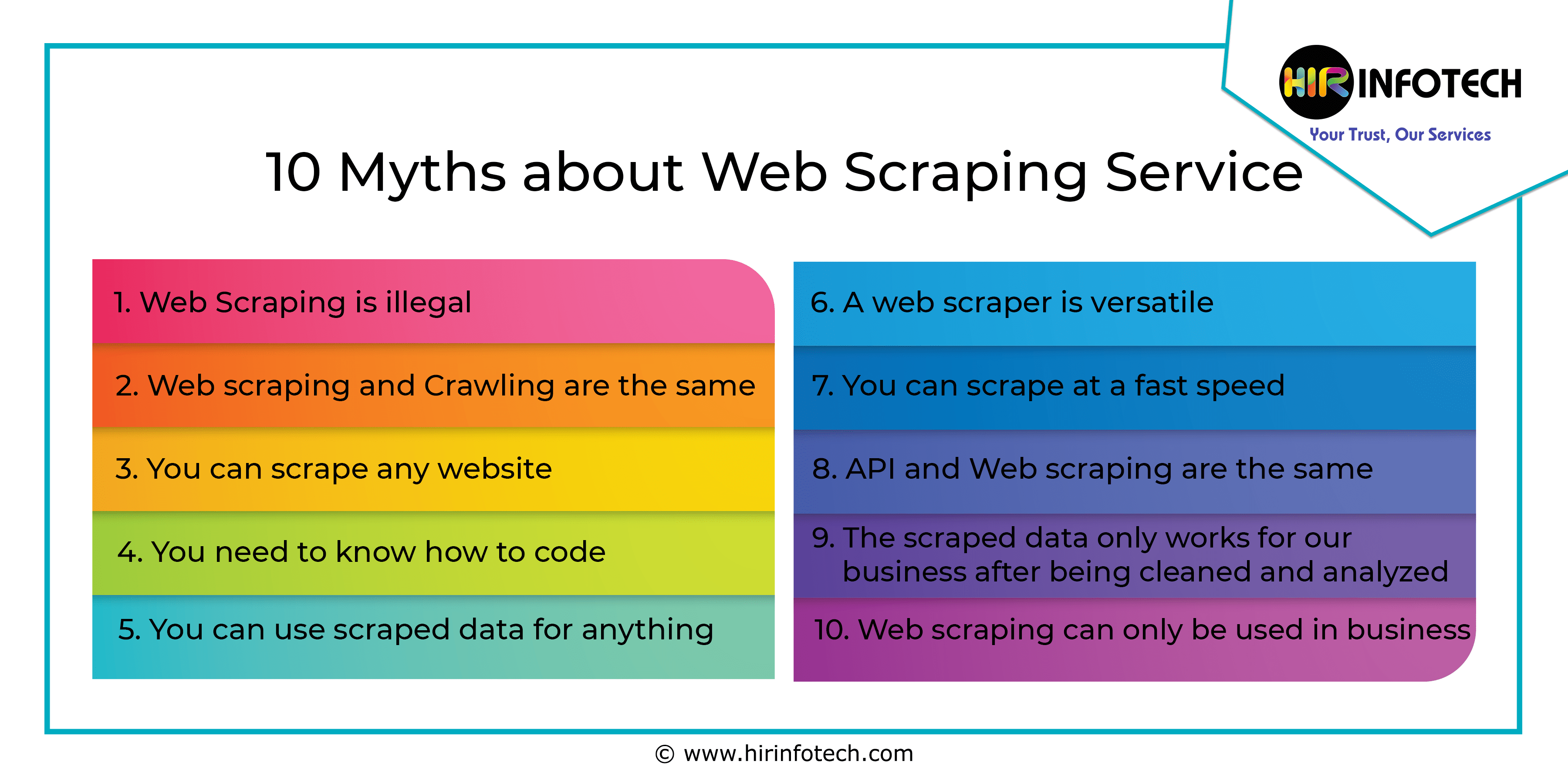 Web scraping, illegal, misunderstanding, web crawling, data extraction, myths, Data Mining, Crawling, Crawler, Data