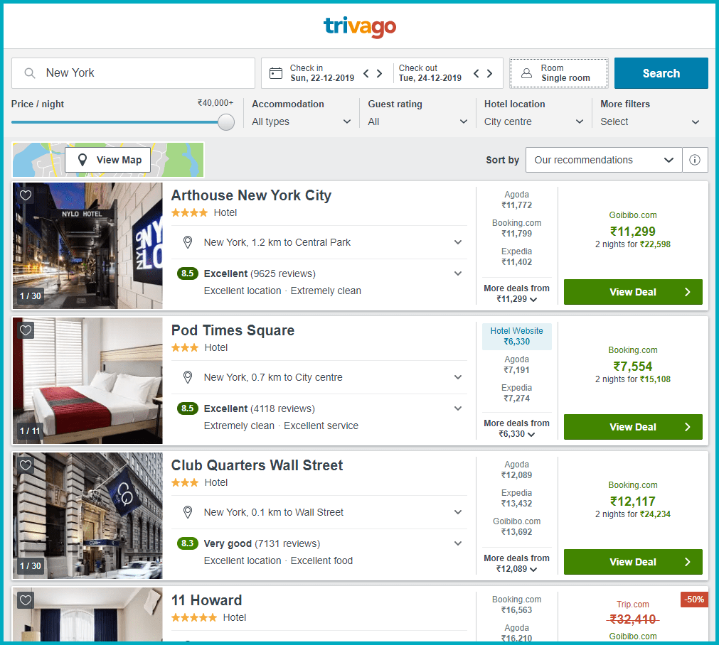 Trivago Price hotel room Price Comparison